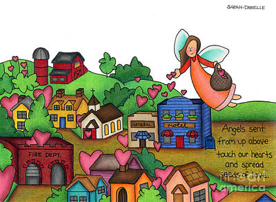 Charming Town Drawing - Seeds Of Love by Sarah Batalka