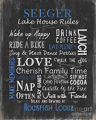 Seeger Lake House Rules Art Print by Debbie DeWitt