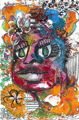 Neo-expressionism Mixed Media - Seeing Flowers by Jade Knights