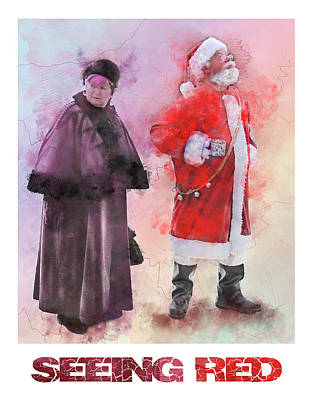 12 Days Of Christmas Painting - Seeing Red - Santa And Mrs Claus Watercolor Candid Portrait by Rayanda Arts