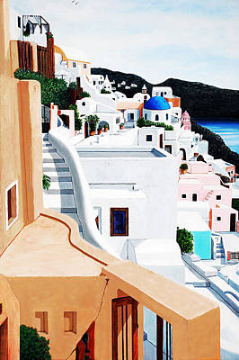 Seeing Santorini Print by Mary Grden's Baywood Gallery