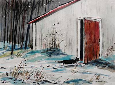 Shed Drawing - Seeking Shelter by John Williams