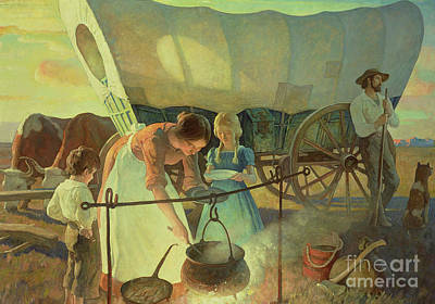 Pan Painting - Seeking The New Home by Newell Convers Wyeth