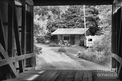 Photograph - Seen Through The Wilkins Mill Covered Bridge Black And White by Adam Jewell