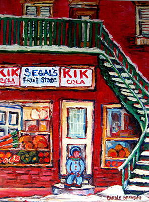 Montreal Neighborhoods Painting - Segal's Market St.lawrence Boulevard Montreal by Carole Spandau