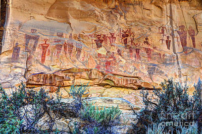 Sego Canyon Indian Petroglyphs And Pictographs Art Print by Gary Whitton