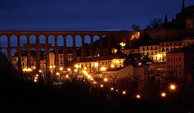 Photograph - Segovia Aqueduct At Night by Alan Socolik