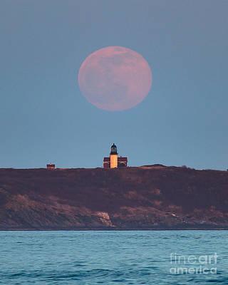 Popham Beach Photograph - Seguin Island Lighthouse Ghost Moon by Benjamin Williamson