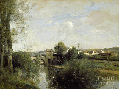 Seine And Old Bridge At Limay, 1872 Art Print by Jean Baptiste Camille Corot