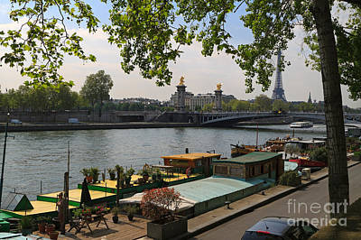 Seine Barges In Paris In Spring Art Print by Louise Heusinkveld