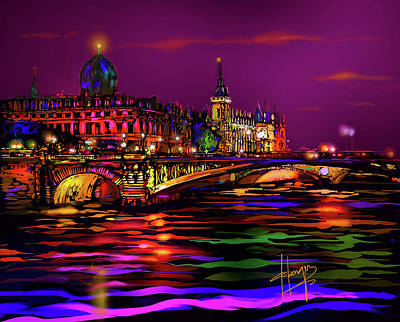 Painting - Seine, Paris by DC Langer
