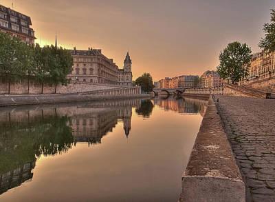 Pedestrian Photograph - Seine River In Morning, Paris by Stéphanie Benjamin