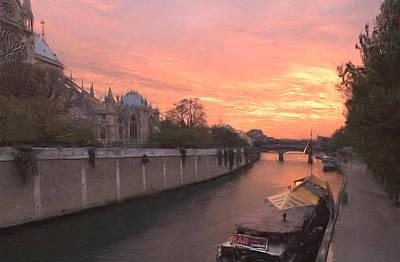 Digital Art - Seine River by Mick Burkey
