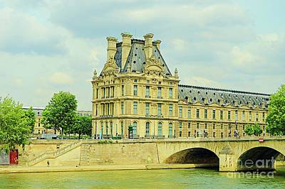 Paris Skyline Royalty-Free and Rights-Managed Images - Seine River Paris France by Linda Covino