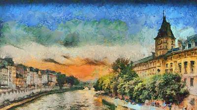 Paris Painting - Seine River Sunset At Dusk by Aaron Stokes