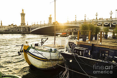 Seine River With Barges And Boats, Pont De Alexandre Bridge Behind, Paris France. Art Print by Perry Van Munster