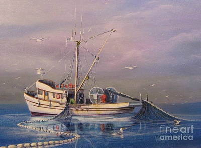 Seiner Fishing Salmon Art Print by Wayne Enslow