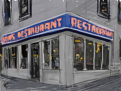 City Scenes Mixed Media - Seinfeld Restaurant by Russell Pierce