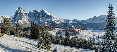 Photograph - Seiser Alm, Dolomites Meadow In Winter by IPics Photography