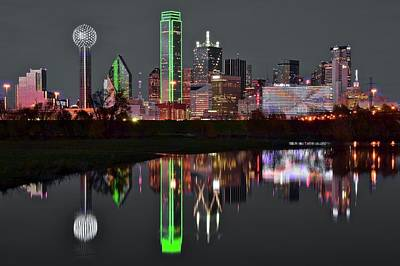 Photograph - Selective Color Night In Dallas by Frozen in Time Fine Art Photography