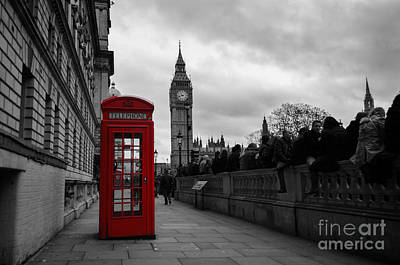 Photograph - Selective Color Red Telephone Box In London by IPics Photography