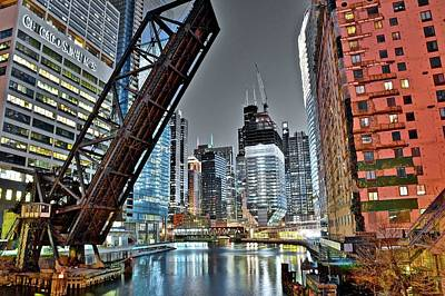 Photograph - Selective Colorful Night In Chicago by Frozen in Time Fine Art Photography