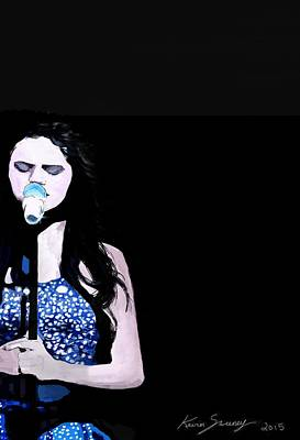 Live Music Drawing - Selena Gomez by Kevin Sweeney