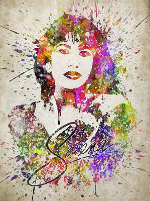 Rhythm And Blues Painting - Selena Quintanilla In Color by Aged Pixel