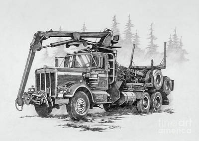 Drawing - Self-loading Log Truck by James Williamson