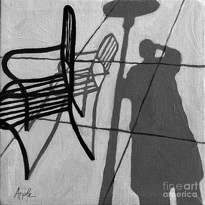Self Portrait - Cafe Shadows Painting Art Print by Linda Apple