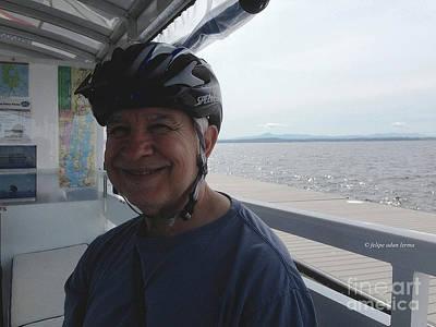 Photograph - Self Portrait 10 - Crossing Lake Champlain Bike Path Gap Via The Bike Ferry by Felipe Adan Lerma
