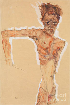 Bent Painting - Self-portrait, 1911  by Egon Schiele