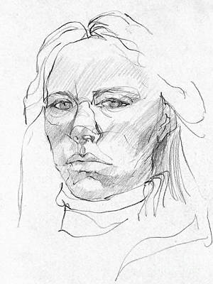 Drawing - Self Portrait 1972 by Denise Fulmer