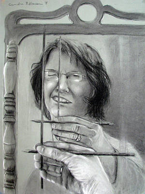 Drawing - Self Portrait 2011 by Art Nomad Sandra  Hansen