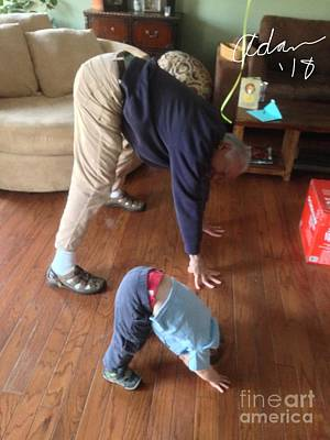 Photograph - Self Portrait 8 - Downward Dog With Grandson Max On His 2nd Birthday by Felipe Adan Lerma