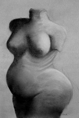 Drawing - Self-portrait After Venus Of Willendorf by VIVA Anderson