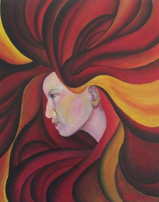Volcano Goddess Painting - Self Portrait As Pele by Is Art E Studio
