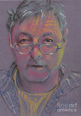 Pastel Portraits Drawing - Self Portrait At 60 by Donald Maier