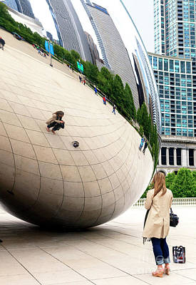 Photograph - Self Portrait At The Chicago Bean by John Rizzuto