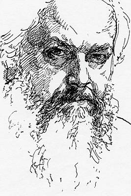 Drawing - Self-portrait by Attila Meszlenyi