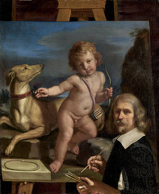 Painting - Self-portrait Before A Painting Of Amor Fedele by Guercino