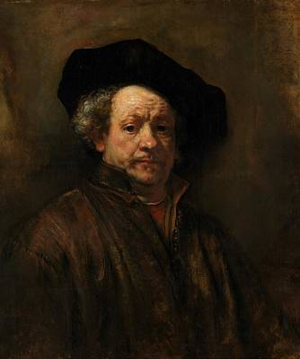 Travel Pics Paintings - Self-Portrait by Rembrandt by Rembrandt van Rijn