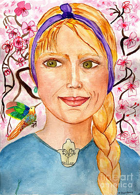 Artists Painting - Self Portrait, Cherry Blossoms, Humming Bird by Debbie Davidsohn