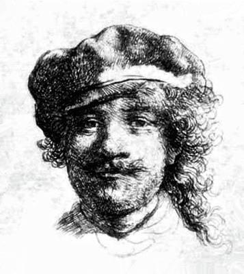 Theft Painting - Self Portrait, Digitally Enhanced, Rembrandt Harmenszoon Van Rijn  by digitallly enhanced by Thomas Pollart