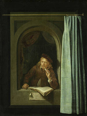 Reading Painting - Self Portrait by Gerrit Dou