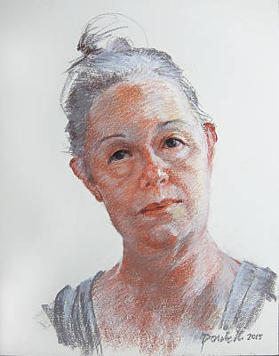 Drawing - Self Portrait Grey by Kathryn Donatelli