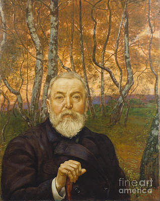 Self-portrait Painting - Self-portrait In A Birch Grove by Celestial Images