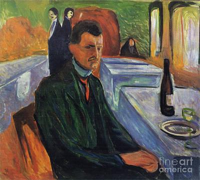 Self-portrait In A Bottle Of Wine Art Print