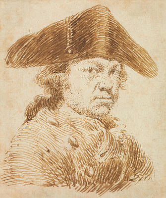 Drawing - Self-portrait In A Cocked Hat by Francisco Goya