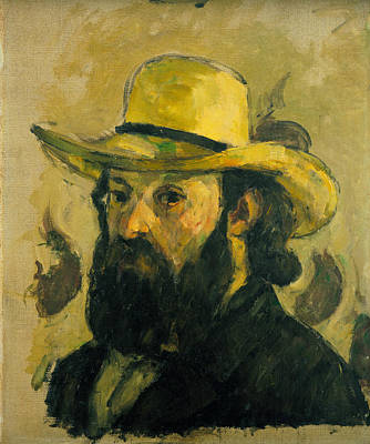 Painting - Self Portrait In A Straw Hat by Paul Cezanne